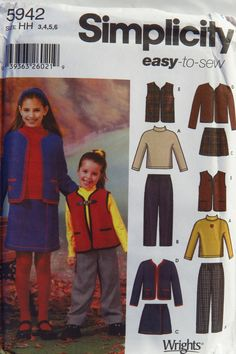 Simplicity 5942 Child's and Girls' Pants, Skirt, Jacket or Vest and Knit Top