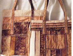 Back to School  Travel Duo Tote Bags of Gold, Brown and Tan Strips by MASBags, $50.00 USD