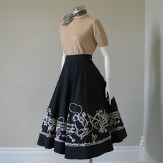 Vintage 1950s White on Black Faille Circle Skirt Cowboy Cowgirl Flocked Novelty Print