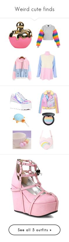 """Weird cute finds"" by jackie-hoot ❤ liked on Polyvore featuring Nina Ricci, The Ragged Priest, Y.R.U., UNIF, TONYMOLY, Sugar Thrillz, Demonia and Addis"