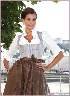 Salzburg, Vienna -- teri hatcher wears austrian dirndl at salzburg festival