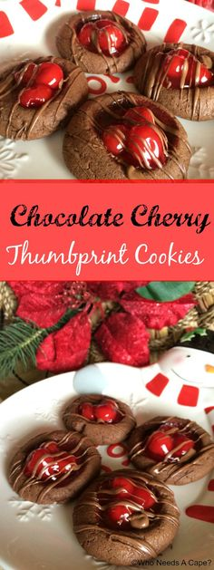 Chocolate Cherry Thumbprint Cookies |