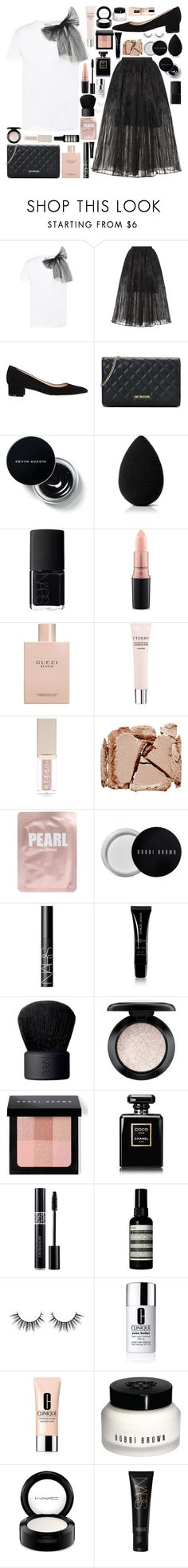 """""""Untitled #1074"""" by douxlaur ❤ liked on Polyvore featuring RED Valentino, Elie Saab, Manolo Blahnik, Love Moschino, beautyblender, NARS Cosmetics, MAC Cosmetics, Gucci, By Terry and Stila"""