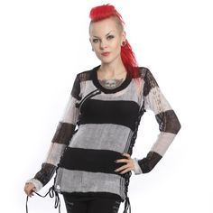 Miss Krueger Top Black and White - Distressed knitted see through top with a corset side.Miss Krueger Top Black and White (S,M,L) - Distressed knitted see through top with a corset side.Miss Krueger Top Black and White (S) - Distressed knitted see through Black And White Tops, Black White Stripes, Jumpers For Women, Cardigans For Women, Fall Outfits, Cute Outfits, Super Cute Dresses, Alternative Fashion, My Style