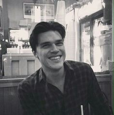 His smile #finnwittrock #blackandwhite