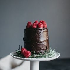 Chocolate cake for two topped with raspberries!