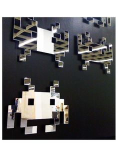 These playful retromirrors are by UK designer Michael Siney inspired by 1980s arcade games.    Mirrored acrylic finished in powder coated silver.    Two versions are available - hands up or hands down - they look great individually or collectively.  Each mirror comes with wall mounts and template.