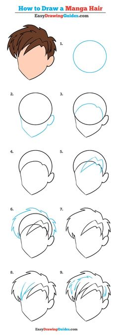 How to Draw Manga Hair – Really Easy Drawing Tutorial – Drawing Tips Easy Drawing Tutorial, Drawing Tutorials For Beginners, Drawing Tutorials For Kids, Drawing For Kids, Drawing Tips, Drawing Ideas, Manga Tutorial, Drawing Drawing, Drawing Techniques