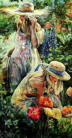 time spent outdoors in the garden, you can feel the Goddess all around you♡ Beautiful Artwork, Beautiful Images, Beautiful Women, Woman Painting, Painting & Drawing, My Secret Garden, Face Art, Garden Art, Poppies