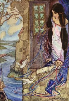 She left the web, she left the loom,  She made three paces thro' the room,  She saw the water-lily bloom,  She saw the helmet and the plume,  She look'd down to Camelot.  Out flew the web and floated wide…   - Extract from The Lady of Shalot, Alfred Lord Tennyson  The Lady of Shalott, Florence Harrison via a-little-bit-pre-raphaelite  #shalott #florenceharrison #art #illustration #preraphaelite #victorian #poetry