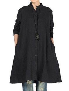 Mordenmiss Women's Cotton Linen Full Front Buttons Jacket Outfit with Pockets (Large, Style 1-Black)