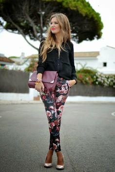 Printed pant And Black shirt