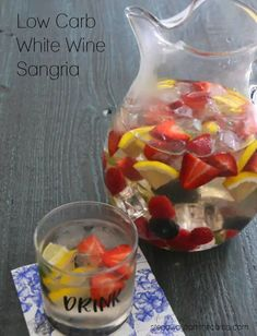 This low carb white wine sangria is a refreshing summer drink to serve to a crowd! Sugar free and keto-friendly recipe.