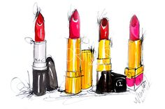 4 lipstick illustration print made of the original watercolor painting.  Artwork by Dorina Nemeskéri    12$