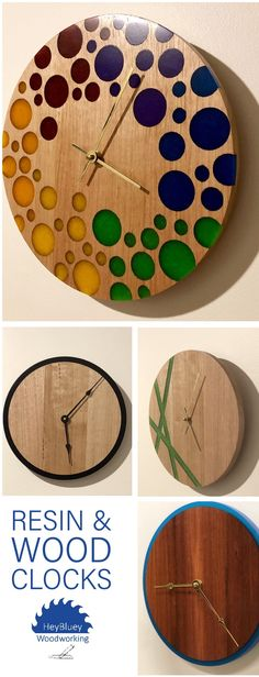 Unique, modern wall clocks made of wood and epoxy resin - .- Einzigartige, moderne Wanduhren aus Holz und Epoxidharz – HeyBluey Woodworking… Unique, modern wall clocks made of wood and epoxy resin – HeyBluey Woodworking …, # Epoxy resin - Woodworking Projects Diy, Custom Woodworking, Wood Projects, Diy Clock, Clock Ideas, Diy Wall Clocks, Homemade Clocks, Mur Diy, Epoxy Resin Wood