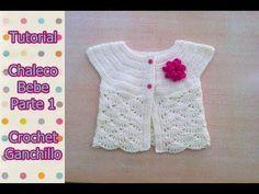 DIY Como tejer chaleco bolero para bebe niña con flor a crochet, ganchillo (1/2) - YouTube