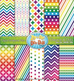 Chevron & Dot Digital Scrapbook Pack — Rainbow (10 Pages) - High quality hand drawn papers that help you create beautiful resources and materials for your classroom or homeschool. {Keywords: chevron, polka dots, fun, bright, stripes, modern print, dots, clipart, illustrations, graphics}