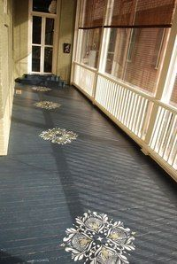 porch paint ideas Painting on wood is not an entirely new idea but it keeps rearing its head because it is indeed a good one, and one that has multiple uses and possibilities. Painted Porch Floors, Porch Paint, Porch Flooring, Painted Rug, Kitchen Flooring, Outdoor Flooring, Kitchen Wood, Floor Design, House Design