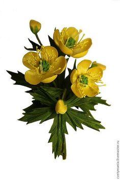 """""""ЛЮТИКИ"""".Бутоньерка из шелка.РЕЗЕРВ! - лютики,лютик,цветочки,брошь из ткани"""