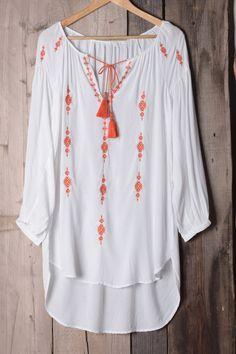 #AdoreWe #CupShe CupShe Fresh Orange Embroidered Long Top - AdoreWe.com