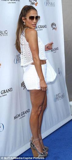 Jennifer Lopez in white lace shorts set