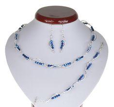 BIŻUTERIA ŚLUBNA KOMPLET ŚLUBNY wieczorowy posrebrzany kryształki bicone granatowy KP198 Beaded Necklace, Jewelry, Fashion, Beaded Collar, Jewlery, Moda, Pearl Necklace, Jewels, La Mode