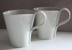 Handmade Ceramic Porcelain Mugs Set of 2 by taylorceramics, $50.00
