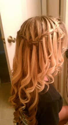 Waterfall Braid with Curls (maybe straighten all of the hair, waterfall braid the top section and then curl only the waterfall strands?)