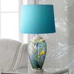 Possini Euro Jacob Peacock Art Glass Table Lamp