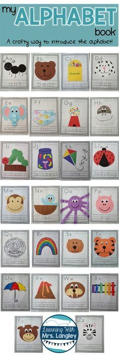 This alphabet book is a great way to introduce the alphabet during the first weeks of school. Introduce a letter a day and complete the craft page that helps reinforce the letter. Keep them together and present each student with their very own book at the Preschool Letters, Preschool Lessons, Kindergarten Literacy, Preschool Learning, Kindergarten Classroom, Preschool Age, Learning Letters, Early Literacy, Preschool Crafts