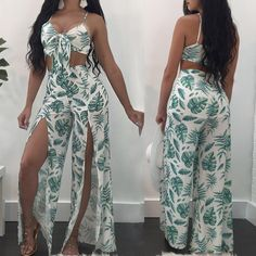 Fashion Spaghetti Strap Knotted High Slit Cropped Pantsuit