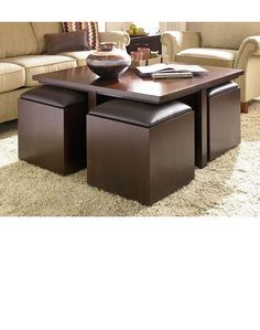 Square Coffee Table With Ottoman Underneath