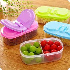 1pc Color Random Portable Microwave Bento Food Container Storage Picnic Colorful Design