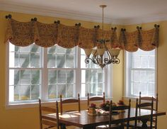 Furniture Window Valance Ideas Cream Color Rustic Farmhouse Dining Room Table Chair Set Light Traditional Classic Chandelier Best Kitchen Living Room With Dining Room Window Treatment Design Ideas Contemporary Valances, Modern Valances, Kitchen Curtains And Valances, Valances For Living Room, Contemporary Windows, Cafe Curtains, Burlap Kitchen Curtains, Valance Curtains, Sunroom Curtains