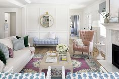 n this pastel-infused living room by designer Bria Hammel? Crisp white walls provide a blank canvas for large strokes of pale pink and blue. Careful touches of emerald green add depth to the design. Living Room Furniture Layout, Living Room Designs, Space Furniture, Furniture Online, Furniture Plans, Luxury Furniture, Antique Furniture, Bedroom Furniture, Transitional Living Rooms