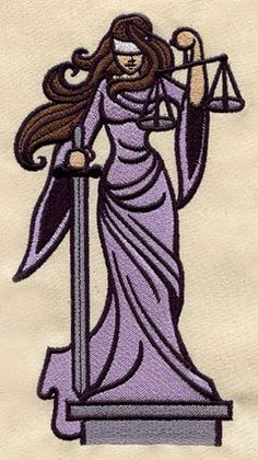 """""""Lady Justice"""" embroidered hand/dish towel"""
