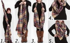 4 варианта носки шарфа-пледа