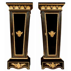 Pair of 19th Century French Louis XVI Style Ebony, Brass and Ormolu Pedestals | From a unique collection of antique and modern pedestals and columns at http://www.1stdibs.com/furniture/building-garden/pedestals-columns/