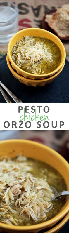Pesto Chicken Orzo Soup   This easy chicken soup recipe with pesto and orzo is perfect for busy weeknights. Ready in 30 minutes.