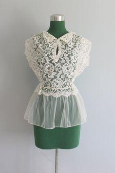 Dottie Fashion Websites: Vintage Blouse / 1950s White Lace Peplum Blouse / ...