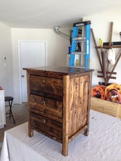 Reclaimed Wood Look Bedside Table 1st Project | Do It Yourself Home Projects from Ana White