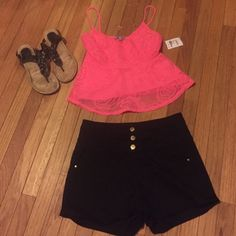 Charlotte Russe Hot Pink Crop Tank Perfect hot pink summer crop tank! Charlotte Russe Tops Crop Tops