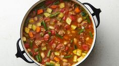 Loaded with vegetables and spicy sausage, this simple soup offers something for everyone at the table. Pair with a green salad, and dinner is done.