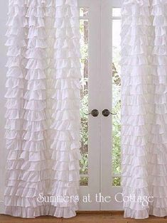 WHITE RUFFLED DRAPE PANEL CURTAIN SHABBY BEACH COTTAGE CHIC