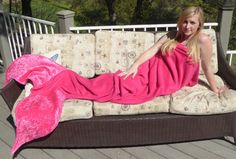 Pink Fleece Mermaid Tail Blanket with Crushed by TheChubbyPlatypus