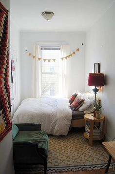 Love this! The bed is all cute and tucked away over there :) | Good idea for small bedrooms: