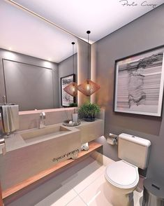 """701 Likes, 20 Comments - Paola Cury Arquitetura e Eng. (@pacuryarqeng) on Instagram: """"Na onda dos banheiros: hoje um lavabo mais masculino e moderninho: cinza, P&B, madeira e mármore…"""""""