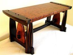 ebony & bubinga bench – Reader's Gallery – Fine Woodworking - Wood Working Woodworking Table Saw, Woodworking Furniture, Fine Woodworking, Woodworking Projects, Woodworking Classes, Woodworking Videos, Woodworking Jointer, Woodworking Organization, Intarsia Woodworking