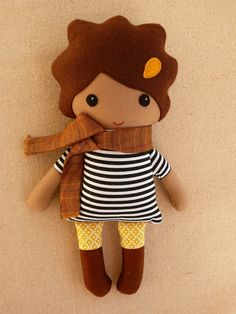 Reserved for Abigalelynn - Mini Fabric Doll Rag Doll 10 inch Doll with Brown Hair