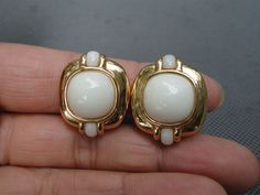 Large Retro Mod 14K Solid Yellow Gold White Onyx Earrings